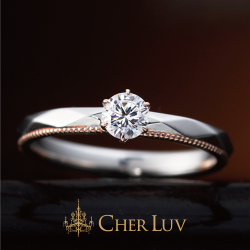 CHERLUVシェールラブの婚約指輪でアンティークで大人可愛いデザインのアジュガの大阪・梅田・神戸・京都の正規取扱店
