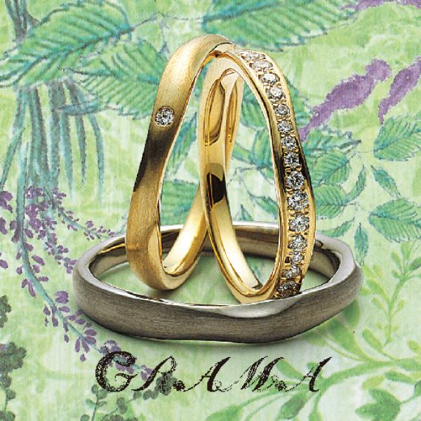 大阪市うめだ結婚指輪ゴールドダイヤモンドつや消し