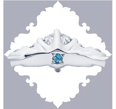 ディズニーシンデレラの結婚婚約指輪なら内側にブルートパーズを入れたデザインにこだわった大阪梅田茶屋町のgarden梅田のブライダルリング