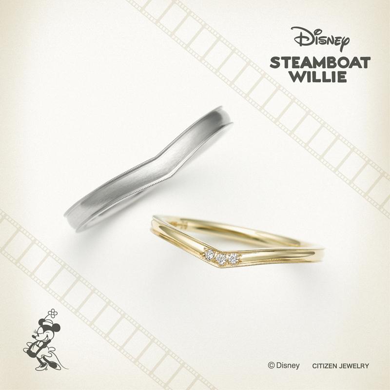 ディズニーミッキースティームボートウィリーの結婚指輪婚約指輪ならデザインにこだわった大阪梅田茶屋町のgarden梅田のブライダルリング2