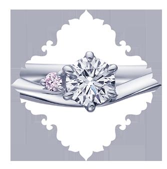 ディズニーシンデレラの結婚指輪婚約指輪ならデザインにこだわりピンクダイヤモンドも入れられる大阪梅田茶屋町のgarden梅田のブライダルリング7