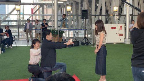 テレビにてサプライズプロポーズを生放送大阪梅田