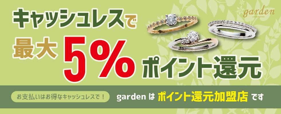 結婚指輪・婚約指輪がキャッシュレスで最大5%還元