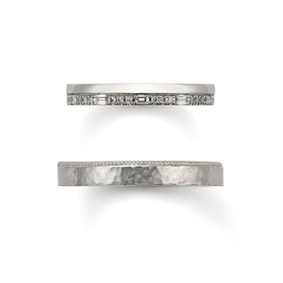 幅が広く太い四角ダイヤのオレッキオ結婚指輪は関西最大級ブライダルリングセレクトショップ大阪のgarden梅田