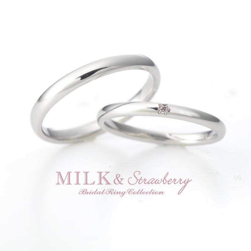 シンプルなピンクダイヤモンドの結婚指輪は大阪梅田garden