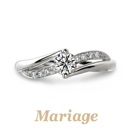 幅が広い太いウェーブ婚約指輪は関西最大級ブライダルリング専門店大阪のgarden梅田