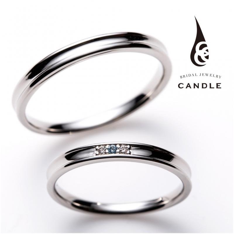 シンプルなブルーダイヤの結婚指輪は大阪梅田garden
