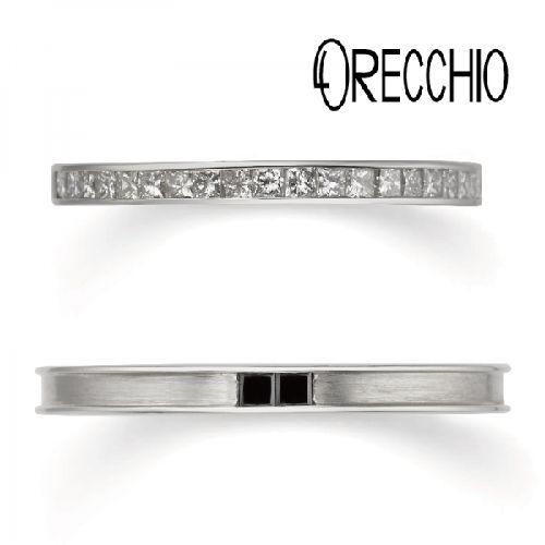 おしゃれ結婚指輪オレッキオエメラルドカットダイヤ